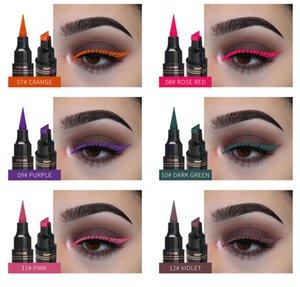 12 couleurs timbre d'eye-liner crayon étanche étanche de longue durée naturelle doublure moche liquide noir rouge violet violet joint de phoque maquillage
