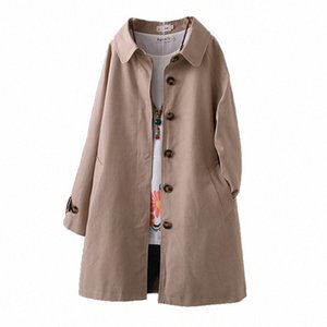 2020 Fashion spring autumn cotton trench coat women Single-breasted Outerwear Plus size 4XL student casual tops windbreaker G728 l2C8#