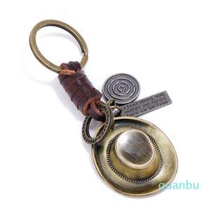 Cowboy Cowgirl Hat Vintage Keychain Fashion Metal Charm Retro Handmade Leather Holder Bag Keyring Car Key Chain Accessories Gift