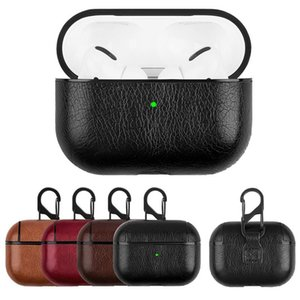 PU Leather Cases Hard Earphone Protector For Apple Airpods 1 2 3 Pro Wireless Headset Sleeve Business Designer with Hook Headpho