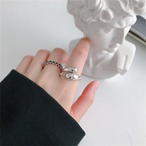 Street Shoot 100% Real 925 Sterling Silver Open Ring for Women Girls INS Simple Smooth Face Drop Shape Adjustable Ring 1465 Q2