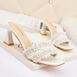 Роскошные каблуки сандалии женщин дизайнерская пряжка коренастые ползунки каблуки обувь высокое качество натуральная кожа на каблуке женская обувь