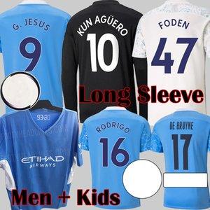 2021 Manchester City Camisetas de fútbol de manga larga DE BRUYNE KUN AGUERO Camiseta de fútbol FC Man City FODEN Equipamiento 21 22 Man Kids kits