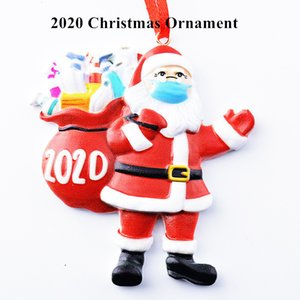 Christmas Ornament Quarantine Santa Claus with Mask Christmas Tree Decorations Xmas Tree Decorations Hanging Pendant Gifts