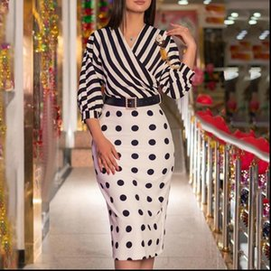 Women Elegant Dresses Dress Striped Patchwork Polka Dot Three Quater Lantern Sleeve with Waist Belt Lady Fashion Classy Modest