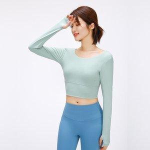 half navel open lu tops yoga long-sleeved T-shirt sexy cross-body beauty back outdoor shirt running sports fitness jacket gym clothes women