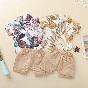 Bambino da clothe vestito indossare abbigliamento set da camicia pantaloncini da 2 pezzi foglie stampa con tasche vestiti estivi