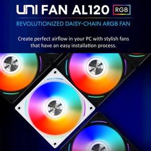 Fans & Coolings Lian Li UNI FAN AL120 Daisy Chain L Connect 2 Software Fan,PWM ARGB Fan,Brushed Aluminum Trim ,Black ,White