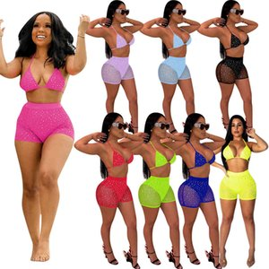 8 colors women Sexy Bikini 2 Two Piece outfits set Summer Beach Swimsuit mesh sequins Open back Bra shorts swimwear Suits party clothing 00