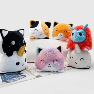 Funny Cat plush toys Can flip 15cm Gato Kids Soft Gift 30Style Plushie Animals Double-Sided two-sided Doll Cute Toy Peluches For Kid Girl CryingCat HappyCat