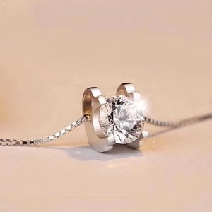 Mode Halsketten Geoki Luxus Perfect Cut Pasted Diamond Test 2 CT D Farbe VVS1 Moissanite Kuhkopf Anhänger Halskette 925 Sterling Silber Kette