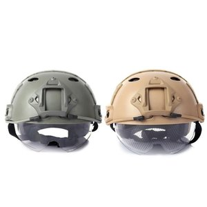 Cycling Helmets 2 Pcs Outdoor Helmet CS Paintball Base Jump Protector 55-59Cm (Mud Color With Green)