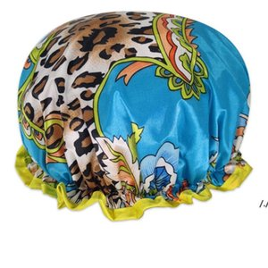 Wide Brimmed Shower Caps Bath Hat Waterproof Double Layers Satin Fabric Hair Bonnets Round Fitted Hats Head Wrap Bathroom Products AHE5891