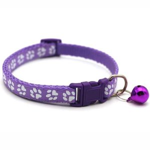 Cat 12styles Dog Puppy Collar Breakaway Adjustable Cats Collars With Bell Bling Paw Charms Pet Decoration 2079 V2
