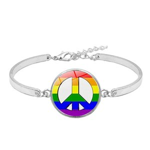 2020 Gay Lesbian Pride Rainbow Sign Bangle For Wome Mens Round Glass charm bracelet Fashion Friendship LGBT Jewelry in Bulk 288 G2