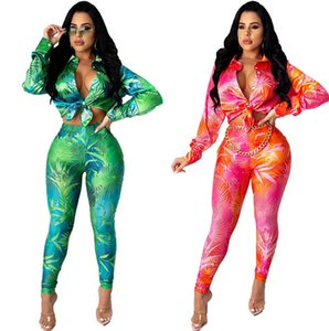 Fashion autumn and winter women's Tracksuits printed casual sports long-sleeved shirt two-piece suit