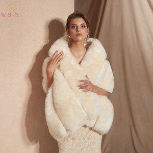 Wraps & Jackets Ivory Wedding Cape Faux Fur High Quality Bridal Bolero 2021 Warm Winter Jacket Women Shrug Shawl Coat 100% Real Pos