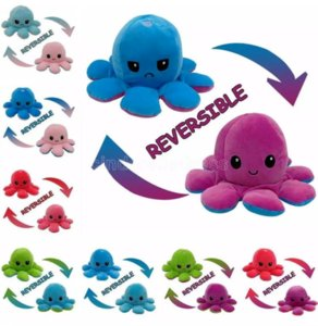 24 Hours Shipping Reversible Octopus Plush Toys Double-sided Flip Octopus Happy Sad Doll Squid Stuffed Doll For Kids Baby Gift Fast ship
