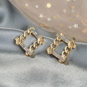 Stud LATS Square Chain Rhinestone Earrings For Women Korean Geometric Gold Color Earring 2021 Brincos Fashion Jewelry