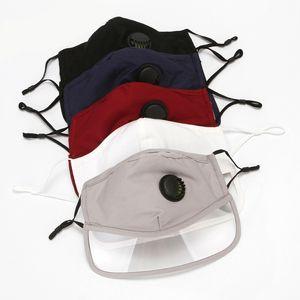 Earloop Mouth Face Mask Adjustable Transparent Eye Cover Adult Mascherine Solid Color With Respirator Valve Masks Reusable 4gw G2
