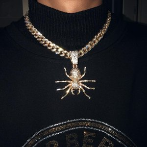 Out Cubic Zircon Big Spider Pendant Necklace Men'S Hip Hop Jewelry With Full Rhinestone Miami Cuban Link Chain Necklaces