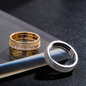 18k Gold Plating Wedding Rings Jewelry 5mm Width Fashion Bling Cubic Zirconia Copper Men Women Egagement Party Band Gifts 3475 Q2