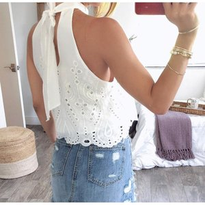 White Embroidery Womens Off Shoulder Tops And Blouse 2021 Summer Casual Stylish Halter Fashion Women's Blouses & Shirts