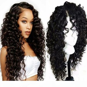 Hot sales 13x4 inch Lace Front Wigs Middle-apart Long Curly deep Wave with Baby Hair Synthetic Heat Resistant Glueless for Black Women