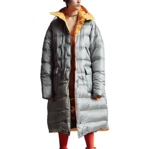 High Quality Winter White Duck Down Coats Double-face Contrast Color Long Hooded Lady Puffer Women's & Parkas