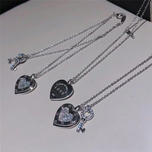 2021! TIF925 Sterling Silvers Heart-Shaped Key Lock Pendant Necklace Exquisite Clavicle Chain Love Charm Necklace,Return To Logo Necklaces