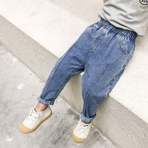 Children's Jeans 2021 Spring Middle Small Wear Western Style Piping Full Spray Men's and Women's Korean Casual Pants Length