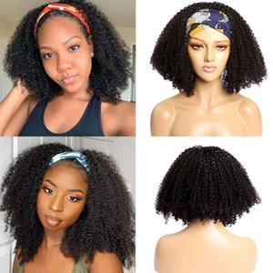 Afro Synthetic Short Kinky Curly Wig Headband Wigs for Woman Short Curly Full Machine Made Wig With Headband wigs Daily Usefactory direct