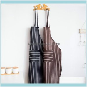 Textiles Home & Gardensenyue Unisex Aprons Adjustable Black Stripe Bib Apron With 2 Pockets Chef Kitchen Cook Tool For Man Woman1 Drop Deliv