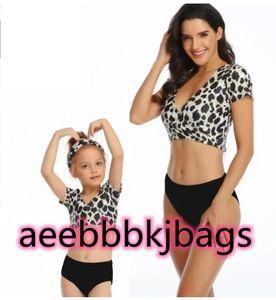 Outdoor Mermaid one piece high waist flash mother daughter child print sexy yakuda flexible stylish Leopard bikini sets