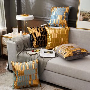 Avigers Embroidery Velvet Cushion Cover Luxury European Pillow Cover PillowCase Geometry Home Decorative Sofa Chair Throw Pillow 1140 V2
