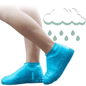 Pares a prueba de agua cubiertas de zapatos antideslizantes botines de tobillo reutilizables Reutilizables Silicone Lluvia zapatos protectores para llover al aire libre desechable
