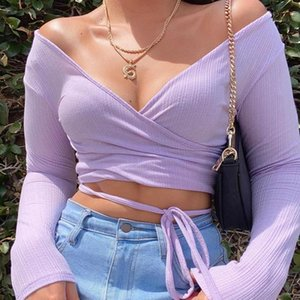 Fall Clothing DIY Bandage Wrap Slim Ribbed Skinny Crop Tops High Street Purple Surplice Neck Top Women Knitted Outwear Women's T-Shirt