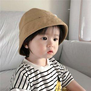 hatSpring 2021 Harajuku flat top solid color children's fisherman canvas versatile Trendy Baby bucket basin hat