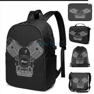 Смешные графические печати Moto Guzzi мотор USB заряда рюкзак мужские школьные сумки женские сумки путешествия ноутбук