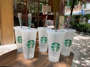 Starbucks 24oz / 710 ملليلتر البلاستيك القدح الهلوان غطاء قابلة لإعادة الاستخدام واضح شرب شقة أسفل عمود شكل سترو باردي اللون تغيير فلاش أكواب 50 قطع dhl مجانا