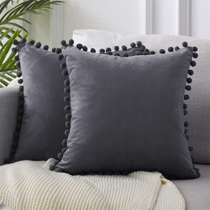 Luxury Pom-Pom Velvet Cushions Candy Color Solid Color Zipper Cover Home Decor Sofa Living Room Throw Pillow Case 45 X 45Cm 607 S2
