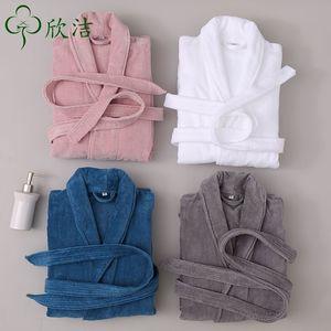 Hotel Beauty Salon b & Pure Cotton Cut Velvet Adult Thickened Bathrobe Robe