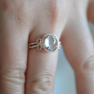 Cluster Rings Original Chalcedony Big Egg Round Bow Knot Opening On Both Sides Adjustable Ring Elegant Charm Retro Female Silver Jewelry