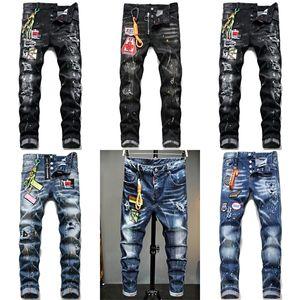 New fashion dsq brand European Italy Men's slim dsq jeans pants mens denim trousers zipper blue hole Pencil Pants jeans for men X0621