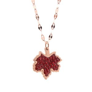 Red Necklaces For Women Zircon Rose Gold Lips Chain Necklace Pendants Stainless Steel Jewelry On The Neck Chains