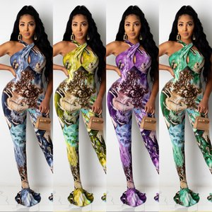 Senhoras Jumpsuits Múltiplas Cores Disponíveis Mulheres Halter Fish Cauda Calças Impressão Digital Macacões Hot Novo Produto 2020
