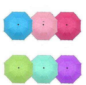 휴대용 3 접이식 방진 우산 100pcs / lot 우산 안티 -UV 썬 샤드 파라솔 마술 꽃 돔 자외선 차단제