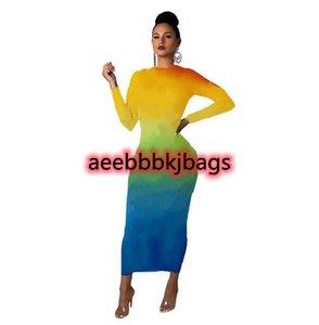 Designer Women Maxi Dresses Ladies Letter Print Dress Long Sleeve Skirts Fashion Spring Summer Autumn Clothing Bodycon Onesie Skirt 4colors 5608