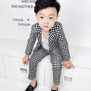 Fashion Plaid Balzer Suit For Kids Wedding Flower Boys Dress Modis Blazer Pant 2 Parts Baby Boy Jacket Clothing Sets