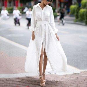 Casual Dresses Summer Maxi Dress Women Elegant Long Sleeve Turn Down Collar Loose Shirt Ladies Fashion White Vestidos